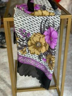 Bandana Halstuch Schal 90x90 Kopftuch Bunt Lila Blumen Tuch Made In ITALY