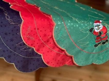 Tischdecke Tischläufer weihnachten Deko Weihnachtsmann 35x65 Grün Rot Blau Weiß