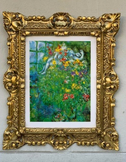 Barock Bild Marc Chagall LE BOUGUET ARDENT Wandbild 45x37 Gemälde Gold Rahmen