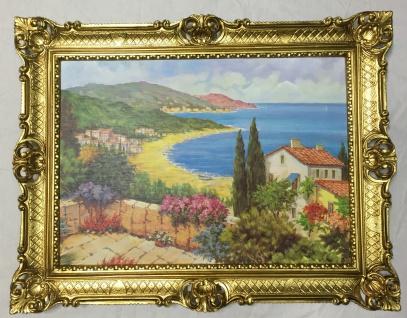 Gemälde Antik Haus am See Blume Bild mit Rahmen 90X70 BILDERRAHMEN L9