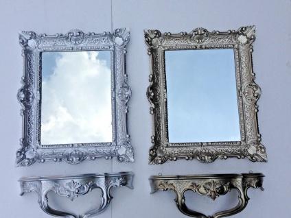 Wandspiegel mit Konsole Silber Spiegelablage 56X46 BAROCK telefontisch cp68