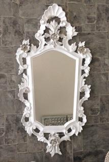 Wandspiegel Barock Weiß Silber Spiegel Antik Badspiegel Barspiegel 83x43 Oval