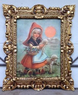 Gemälde Mädchen mit Schaf Bilder 45x38 Kunstdruck Bild Kind Wandbild mit Rahmen