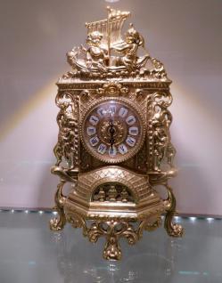 Kaminuhr MESSING TISCHUHR ANTIK BAROCK GOLD 42CM MASSIVER UHR