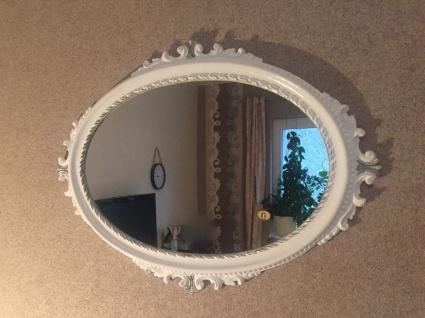 Wandspiegel Antik Weiß-Silber Oval Barock Badspiegel Spiegel 62x48 Flurspiegel