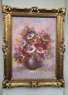 Gemälde Blumen Bild 90x70 Blumen in Vase blumenbukett Rosen Bild Barock Rahmen