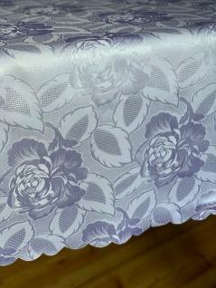 Damast Tischdecke 110x150cm rechteckig Weiß Stoff Rosen BlumenTischtuch Angebot