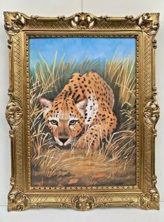 Bild mit Rahmen Antik Leopard 90x70 Gemälde Barock Wandbild Wildtiere Kunstdruck