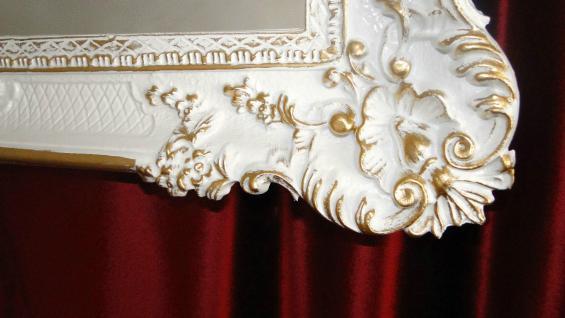 Wandspiegel Barock Weiß-Gold Spiegel Antik 96x57 mit ornamenten Badspiegel -206 - Vorschau 5