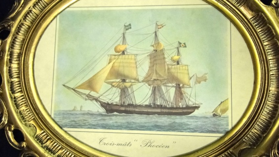 Gemälde Schiff Phoceen Bild Bilderrahmen groß Antik 58X68 Fotorahmen Schiffe