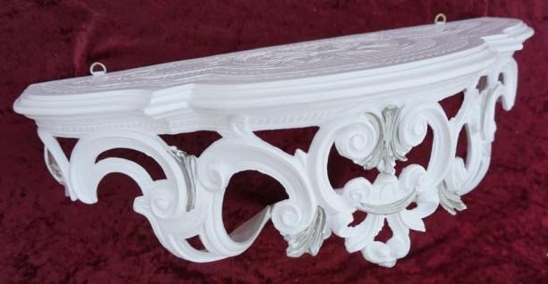 Wandkonsole Weiß-Silber Barock Wandregal Teleefontisch 50x20x24 Ornament Cp72