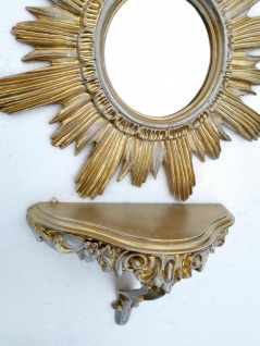 Wandspiegel Sonne Rund mit Konsole Rokoko Antik Badspiegel Barock Wandkonsole