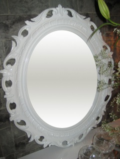 Bilderrahmen Oval Barock Weiss Groß Fotorahmen Antik 58x68 Prunkrahmen mit Glas