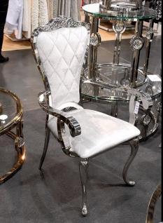 Designer Esstischstuhl Esszimmerstuhl Edelstahl Weiß Silber Stuhl mit Armlehne