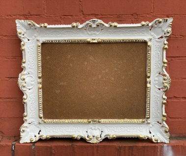 Bilderrahmen Weiß-Gold mit Glas 56x46 Gemälde Rahmen Antik Fotorahmen 30x40