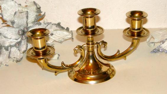 Kerzenständer Messing Kerzenhalter mehrarmig Kerzenleuchter 13cm Tischleuchter