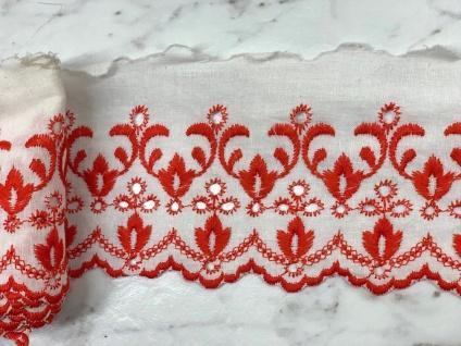 9 Meter Spitzenborte Rot Baumwolle 8cm Borte Spitzen Angebot Madeira LochSpitze
