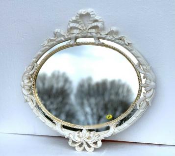 Wandspiegel Rund Oval Antik Creme-GOLD Barock Jugendstil 52x50 Badspiegel
