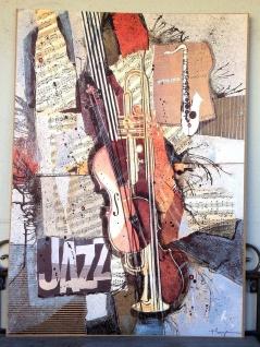 Jazz Bild Violin Saxofon Trompete Musikinstrumente 50x70 Wandbild auf MDF Bild