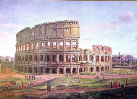 Bild Rom Italien in Nostalgie Look 50x70 Wandbild Arena Kolosseum Stadt ROM