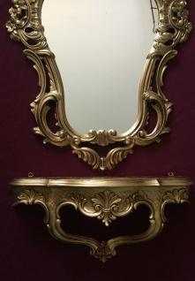 Wandkonsole Gold mit Wandspiegel Antik Barock 50x76 Wandregal Badspiegel