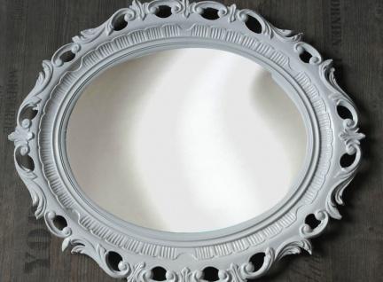 Bilderrahmen Oval Barock Weiss Groß Fotorahmen Antik 58x68 Prunkrahmen mit Glas - Vorschau 2