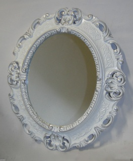 Wandspiegel SHABBY WEIß-Silber OVAL LANDHAUS ANTIK BadSpiegel BAROCK 45X37 Neu