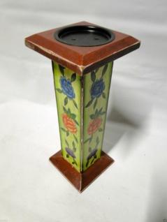Kerzenhalter Holz Antik 30x12 Kerzenständer aus Mango Holz BLUMENMUSTER 20630