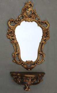 Wandspiegel+Konsole Gold Barock Spiegelablage 50X76 Antik Wandkonsole spiegel