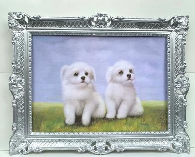 Hunde Welpen Bild 90x70 Gemälde Barock Wandbild Tiere Kunstdruck Bild Vintage