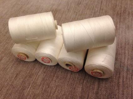 6x Nähgarn 1000 Meter Polyester/Baumwolle Nähgarn Weiß 25/3 Reißfest Angebot - Vorschau 3