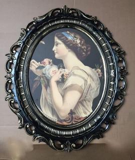 Bild mit Rahmen Schwarz Gold Die Dame Gemälde 58X68 Frauenbild