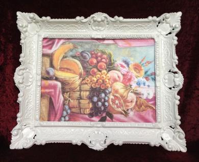 Gemälde Rosen Obst Weintrauben Pflaume 57x47 Bild mit Rahmen Obst Oase in Korb