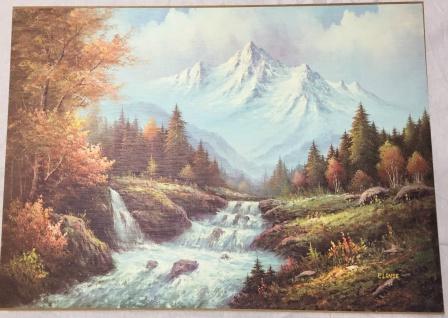 Landschafts Bild Gemälde Berge See Bäume Wald Landschaftsbild Strand 50x70 L10