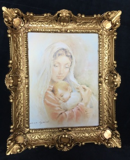 Bild Frau & Baby Wandbild mit Rahmen56x46 Gerahmte Gemälde heilige Maria Jesus