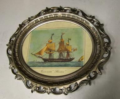 Gemälde Schiff Segelschiff Phoceen Bild Bilderrahmen groß Antik 58X68 Fotorahmen