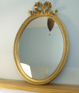 Wandspiegel Gold Oval Spiegel Antik57x41 BAROCK Fiocco deko Badspiegel 3066