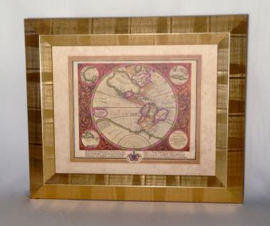 Weltkarte mit Rahmen 65x55 Gemälde Weltatlas Bilderrrahmen HOLZ Wandbild Antik