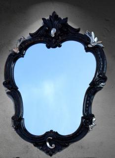 Wandspiegel Barock Oval Schwarz-Silber Antik Spiegel Neu 50x35 444ss