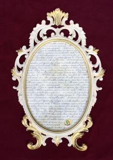 Bilderrahmen Oval Barock Antik Weiß-Gold 43x27 Bilderrahmen 26x18cm Fotorahmen