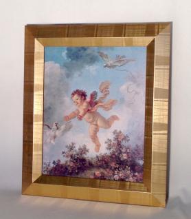 Engelsbild mit Rahmen 65x55 Gemälde Engel Bilderrrahmen HOLZ Wandbild Antik