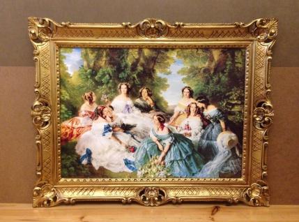 Bild mit Rahmen Frauen Blumen Barock Bild 90x70cm Kunstdruck Bild Wandbild