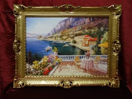 Gemälde Haus am See Landschaftsbild Italien 90X70 Bild mit Rahmen Gold L6