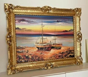 Wandbild Boote Meer Gerahmte Gemälde Schiffe See Bild Segelboot in Barock Rahmen