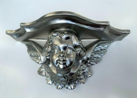 Barock Konsole Engel Wandkonsole Antik Silber 29x13cm Wandregal Hängekonsole