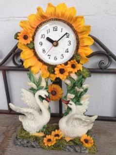 Pendeluhr Kaminuhr Tischuhr 27x18 Sonnenblumen mit Schwäne Figur