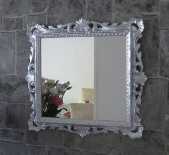 Wandspiegel Barock Silber Hochglanz 38x36 Kosmetikspiegel Antik Badspiegel - Vorschau 5