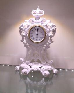 Tischuhr Weiß Kaminuhr Antik Barock 36 cm Standuhr Quarz dekoratives Schrankuhr - Vorschau 3