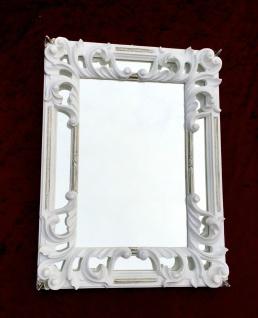 Wandspiegel Barock weiß Silber 41X32 Rechteckig Antik Badspiegel Hochglanz C491S