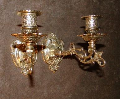 2x Kerzenleuchter Antik Wandkerzenhalter , Wandleuchter Messing Jugendstil Nr258 - Vorschau 3